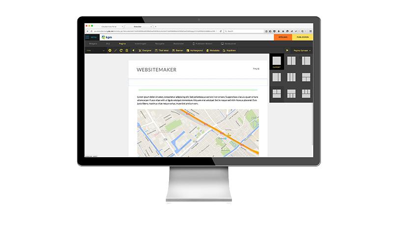 WebsiteMaker scherm