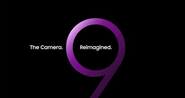 Samsung Galaxy Unpacked: een grote paarse 9 met de woorden 'the camera, reimagined'