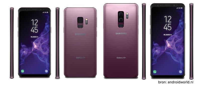 Renders van de 9e Samsung Galaxy in de kleur lilac purple.
