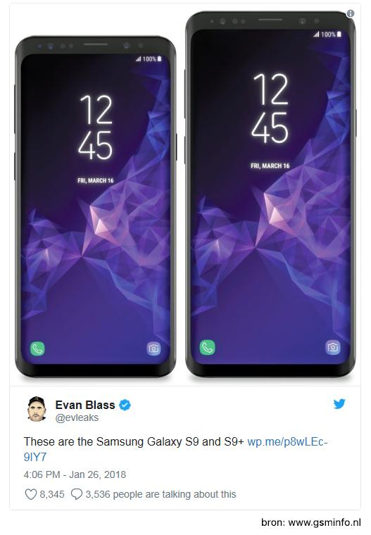 De gelekte afbeeldingen van de nieuwe Samsung, met eronder de tweet van @evleaks