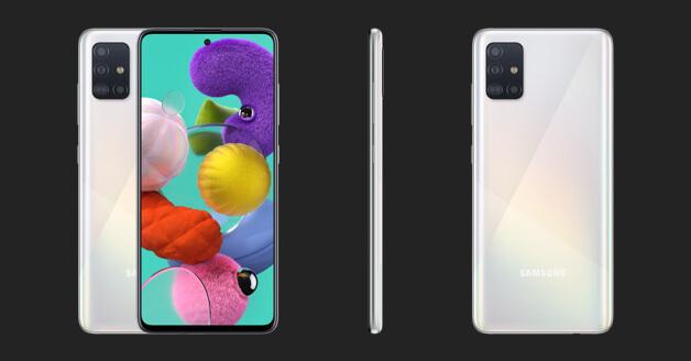 Samsung Galaxy A51: de voorkant, zijkant en achterkant.