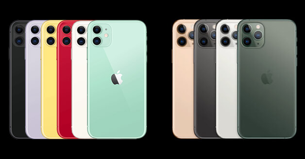 iPhone 11 vs iPhone 11 Pro: kleuren.