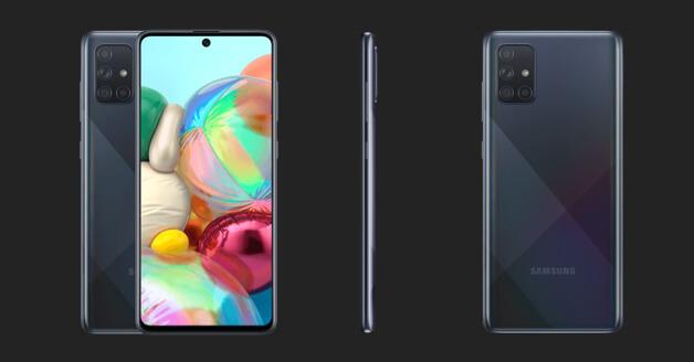 Samsung Galaxy A71: de voorkant, zijkant en achterkant.
