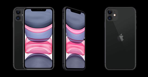 iPhone 11: de voorkant, zijkant en achterkant.