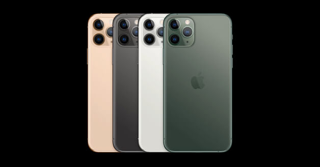 iPhone 11 Pro in de kleuren Gold, Space Grey, Silver en Midnight Green