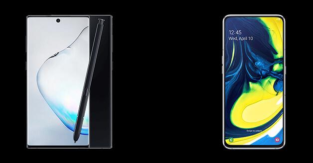 Samsung Note 10 en Samsung A 80