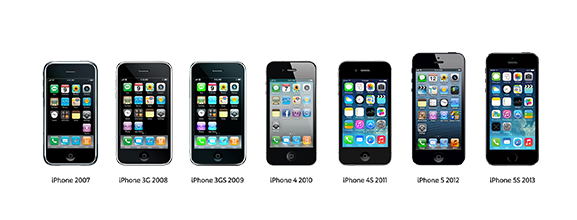 iPhones door de jaren heen
