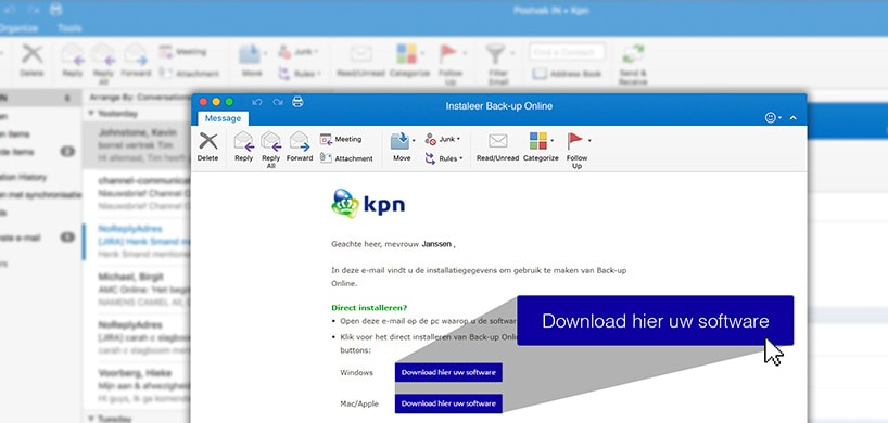 Installatiemail Back-up Online voor Servers