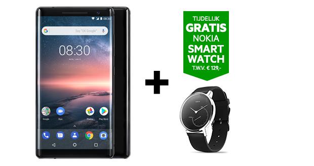 Krijg een gratis Nokia Steel smartwatch bij aankoop van de Nokia 8 Sirocco.
